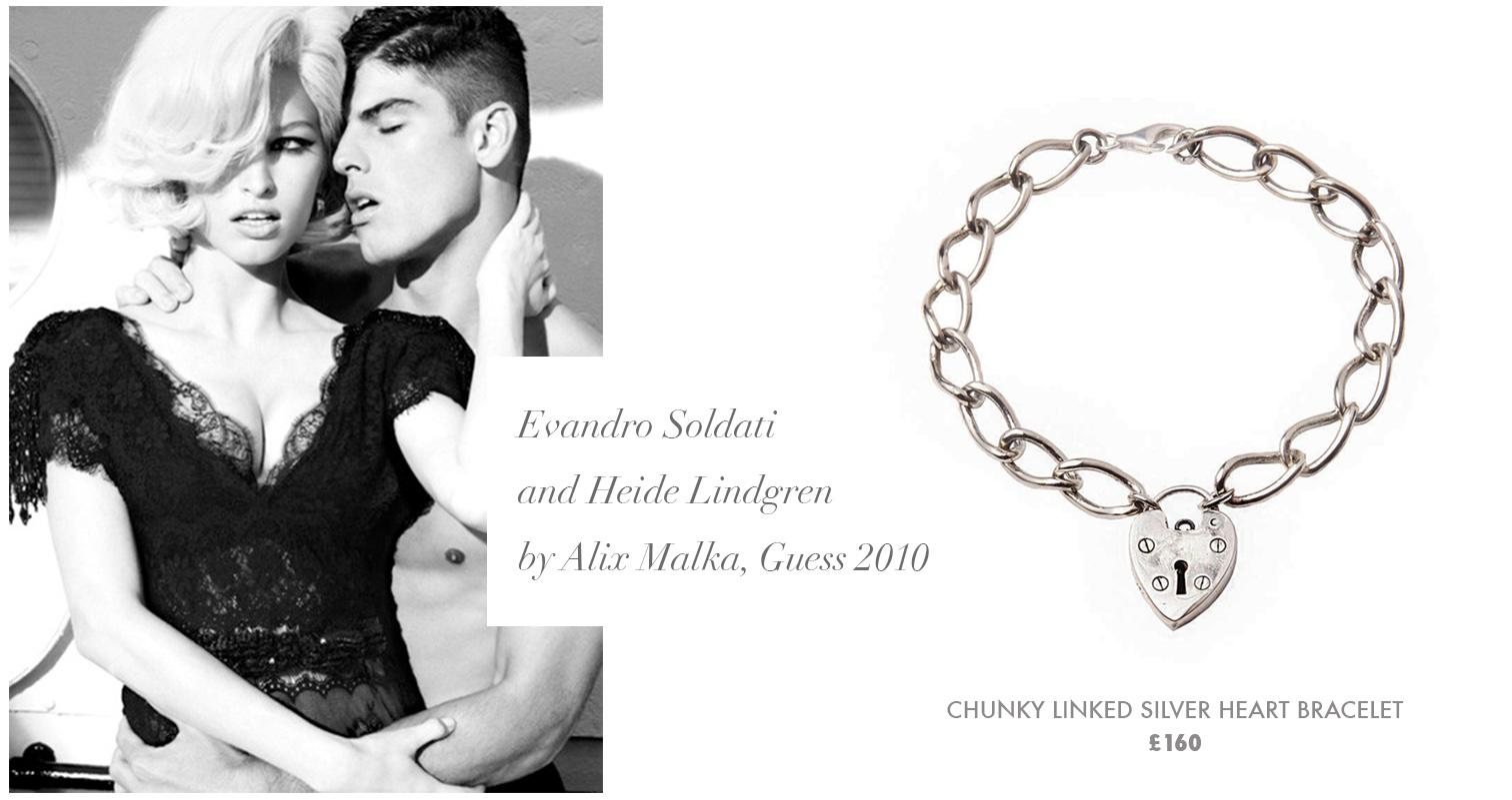 Chunky Linked Silver Heart Bracelet