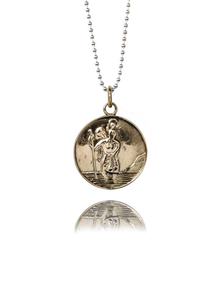 Large Brass St Christopher Necklace