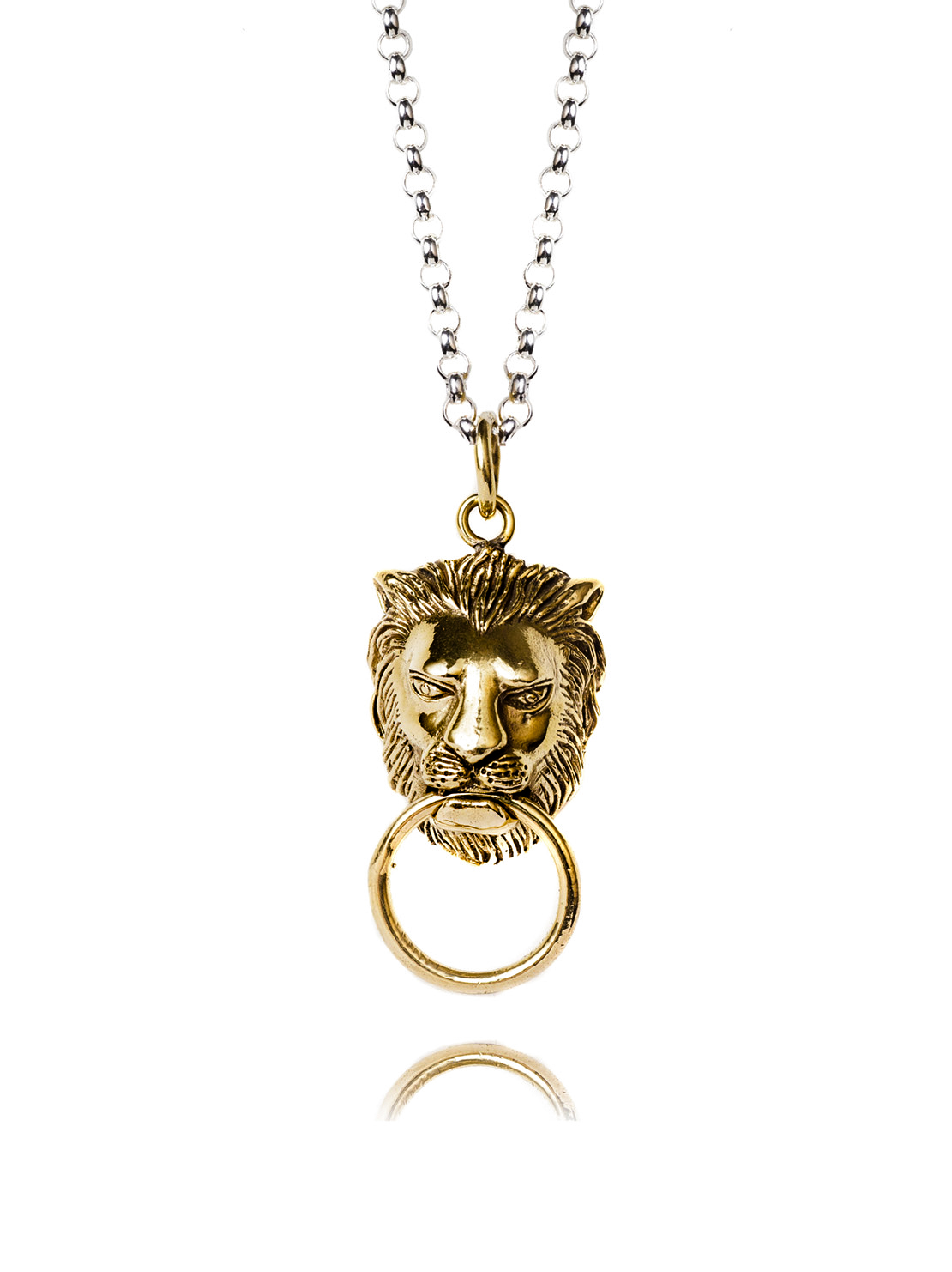 Brass Lion Door Knocker Necklace On Belcher Chain