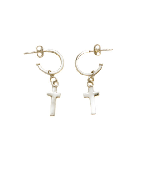 Silver Hoop Earrings With Silver Cross