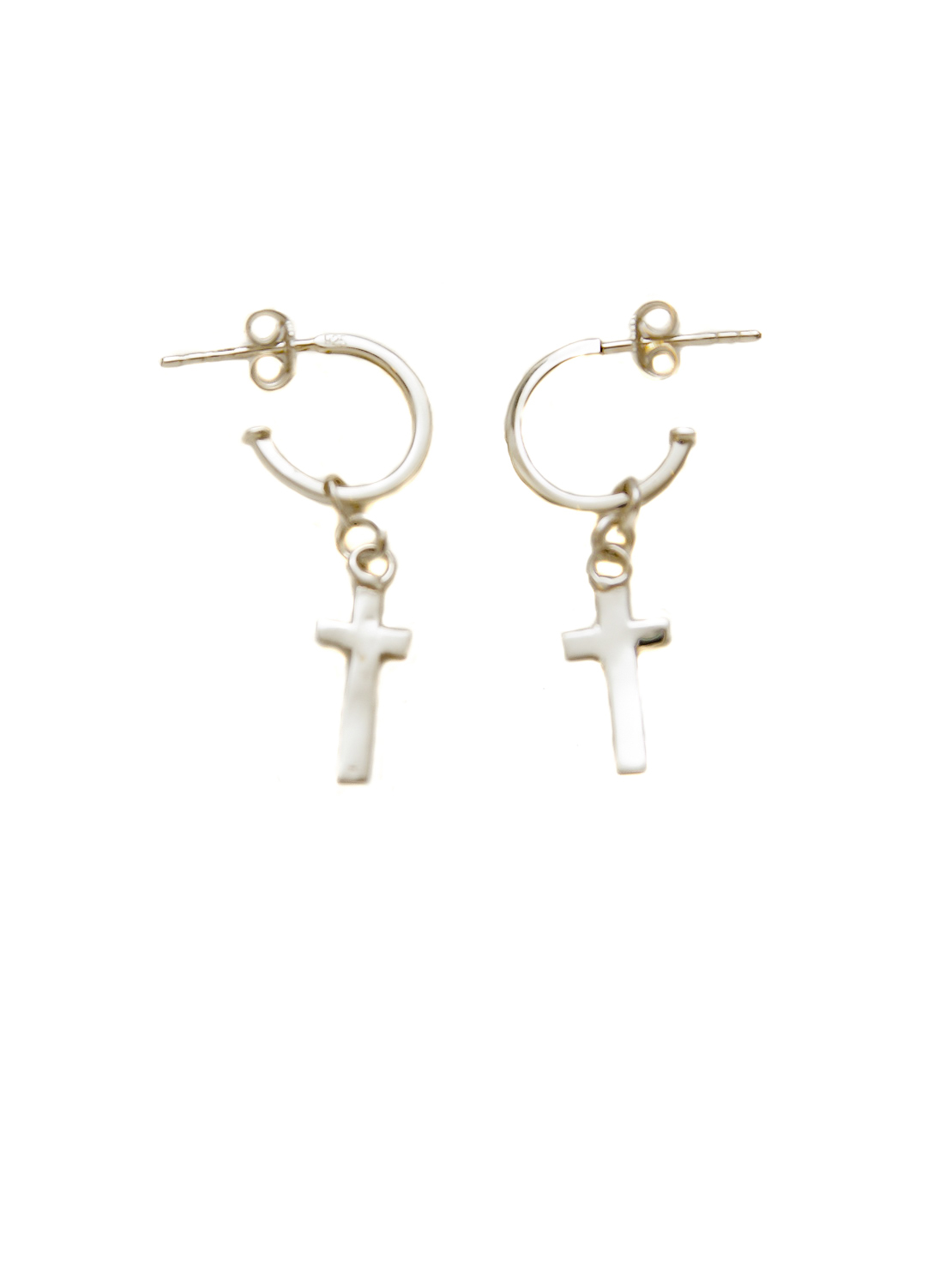 Silver Hoop Earrings With Silver Cross