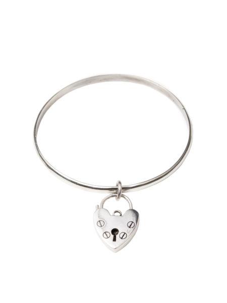 Single Silver Heart Bangle