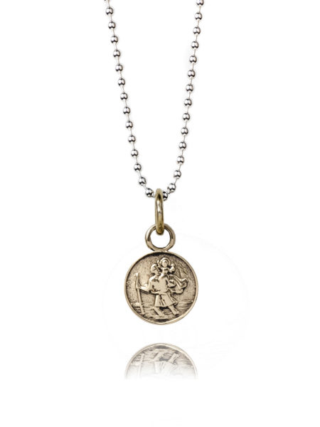 Small Brass St Christopher Necklace