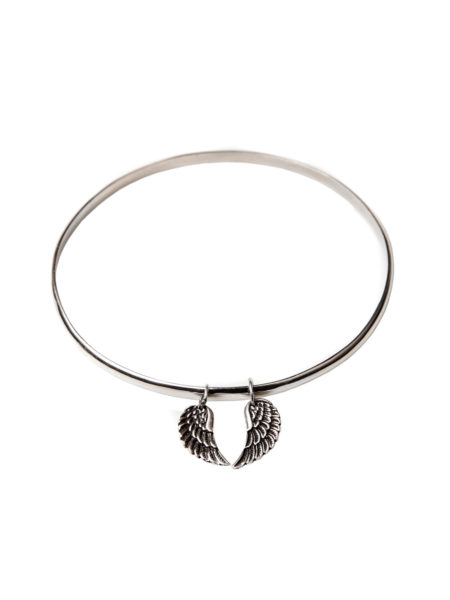 Tiny Silver Wing Bangle