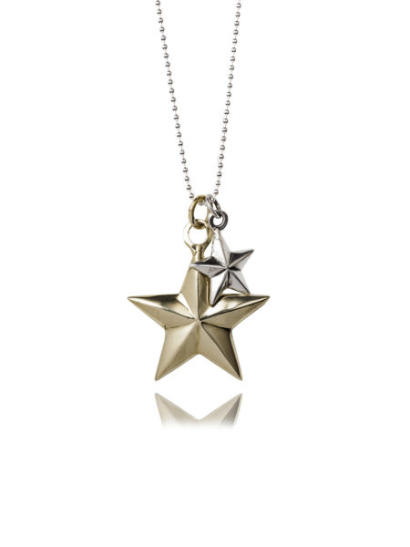Brass And Silver Star Necklace
