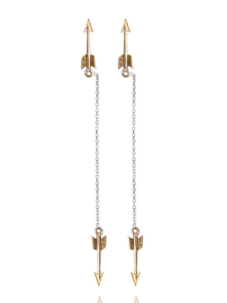 Brass Arrow Single Drop Earrings