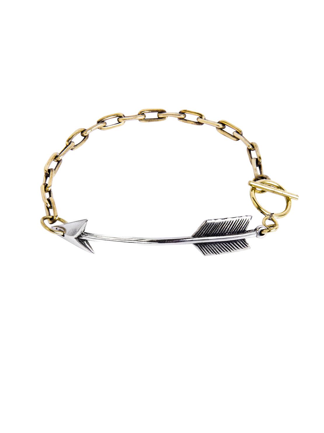 Brass Chain Bracelet With Silver Arrow