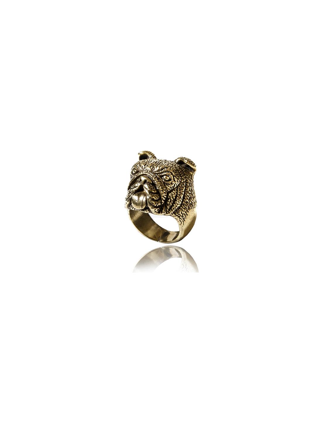 Brass Bulldog Ring