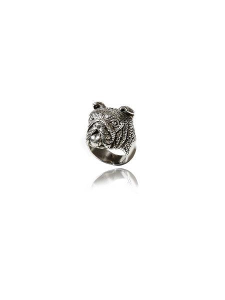 Bulldog Ring- White Bronze