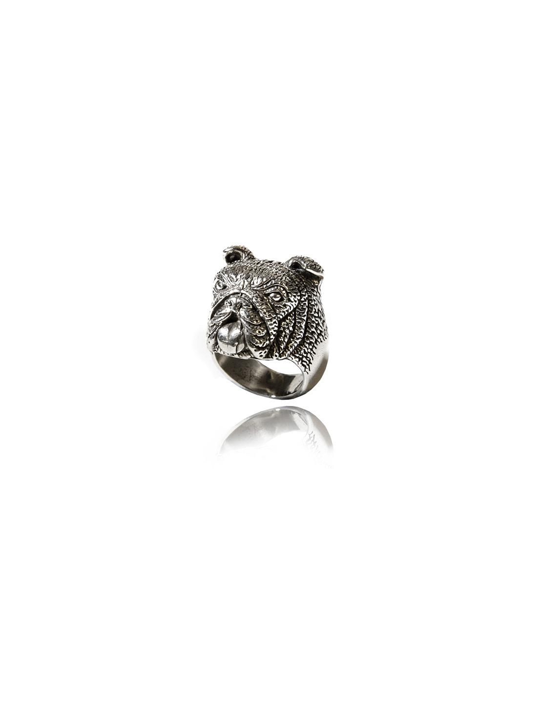 White Bronze Bulldog Ring