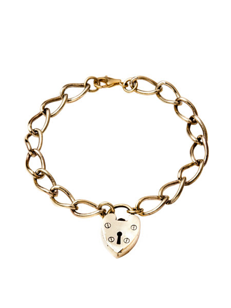 Chunky Linked Brass Heart Bracelet