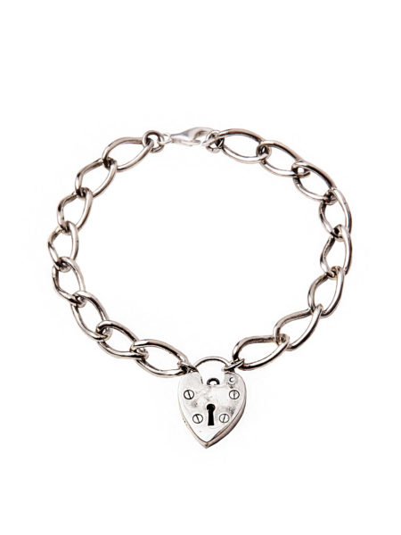 Chunky Linked Silver Heart Bracelet