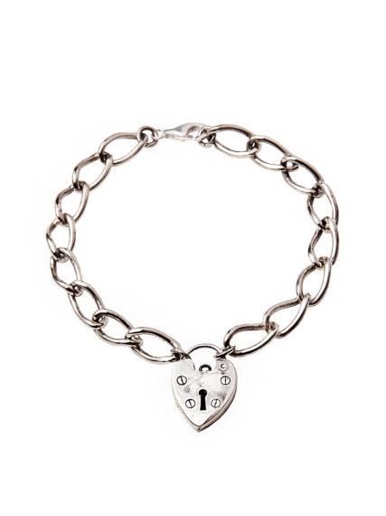 Chunky Linked White Bronze Heart Bracelet