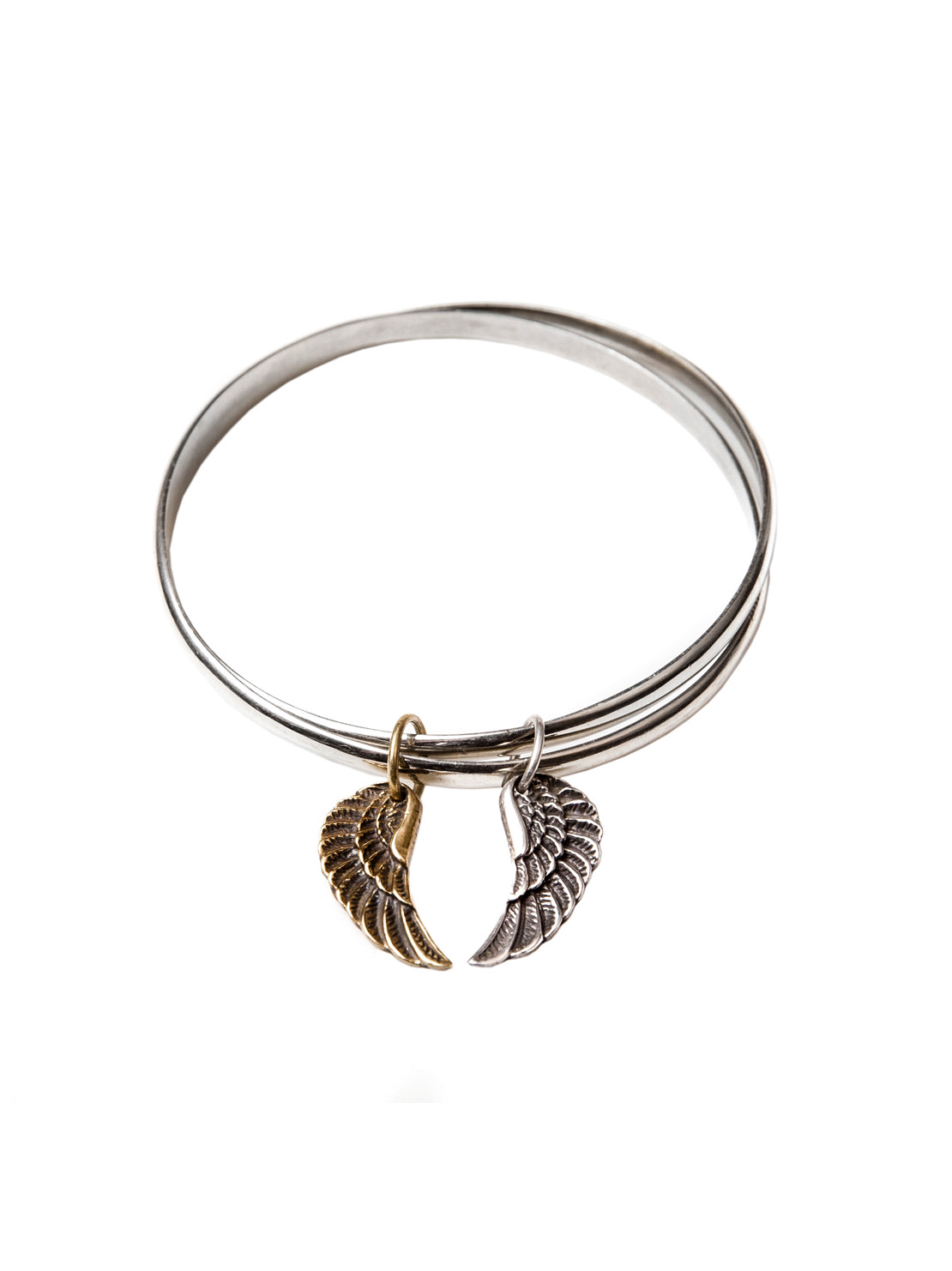 Double Bangle With Mixed Wing Set