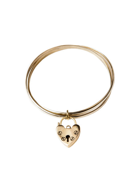 Double Brass Heart Bangle
