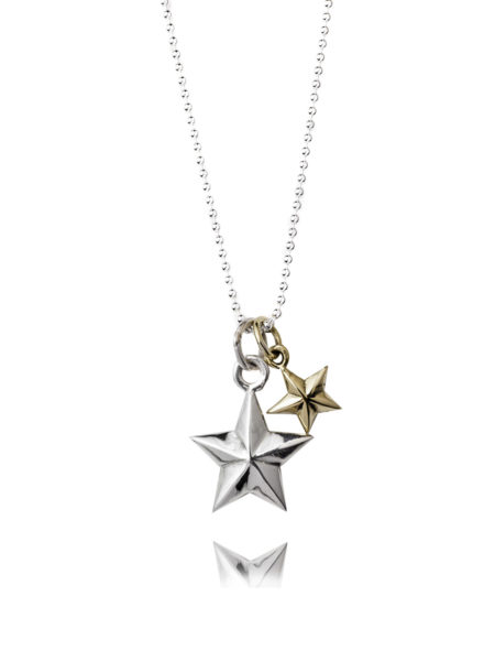 Double Star Necklace - Silver And Brass