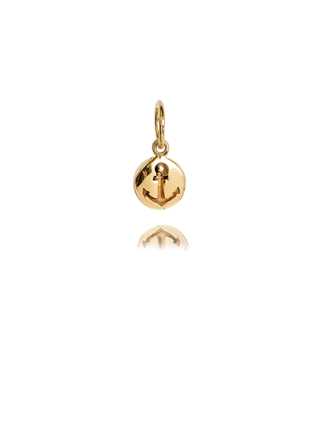 Gold anchor charm tilly sveaas jewellery gold anchor disc aloadofball Choice Image