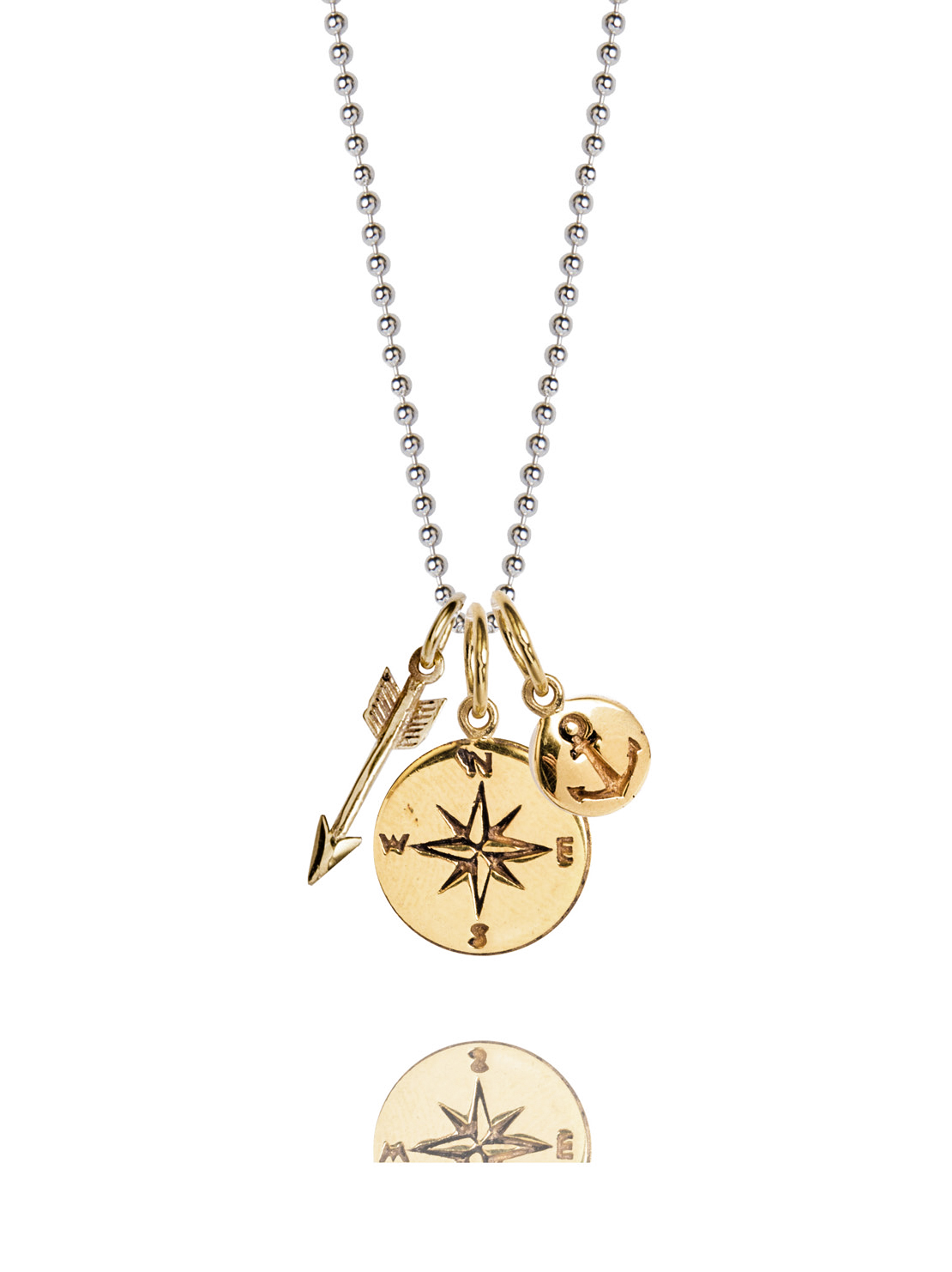 Gold Compass Cluster Necklace