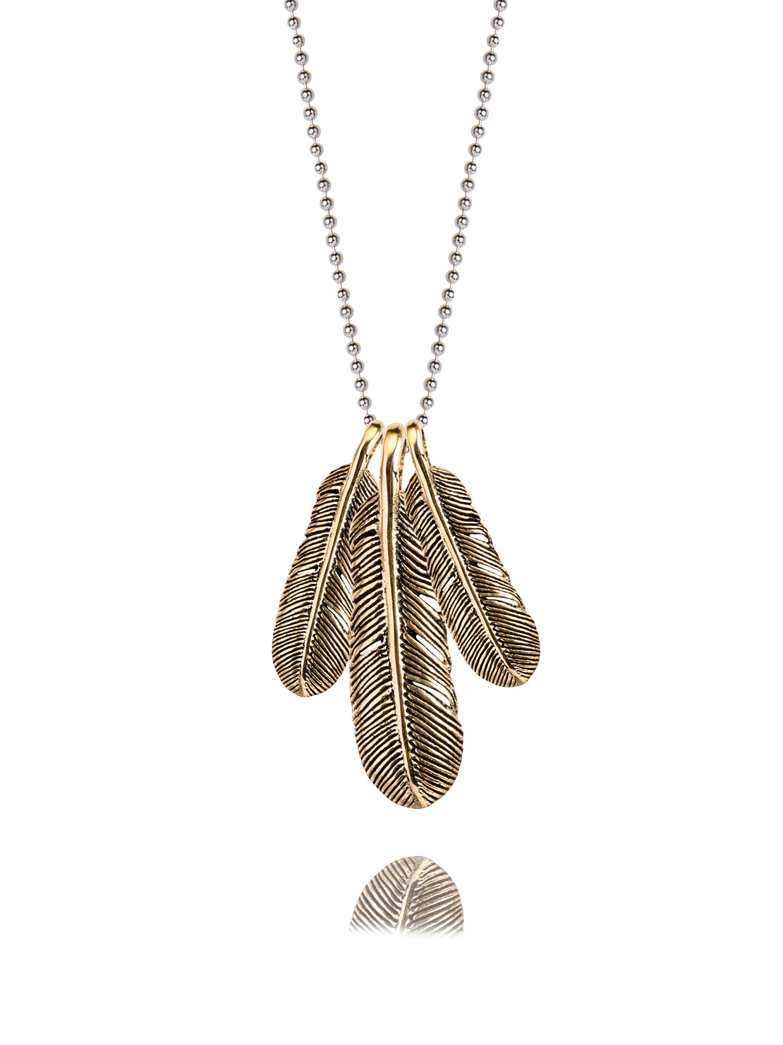 Triple Gold Feather Necklace