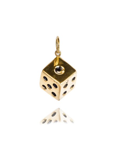 Large Brass Dice Charm