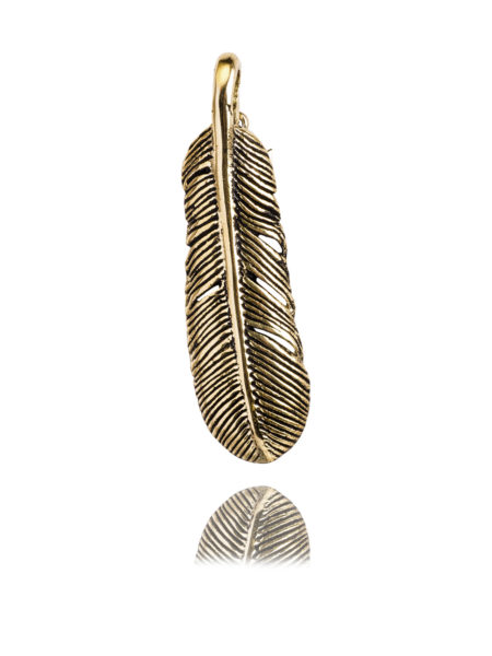 Large Brass Feather Charm