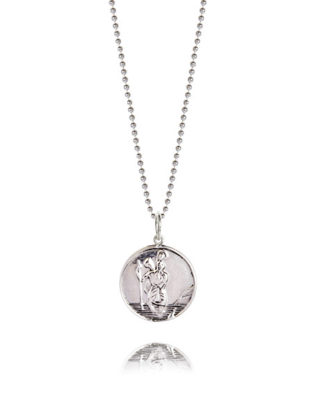 Large Silver St Christopher Necklace