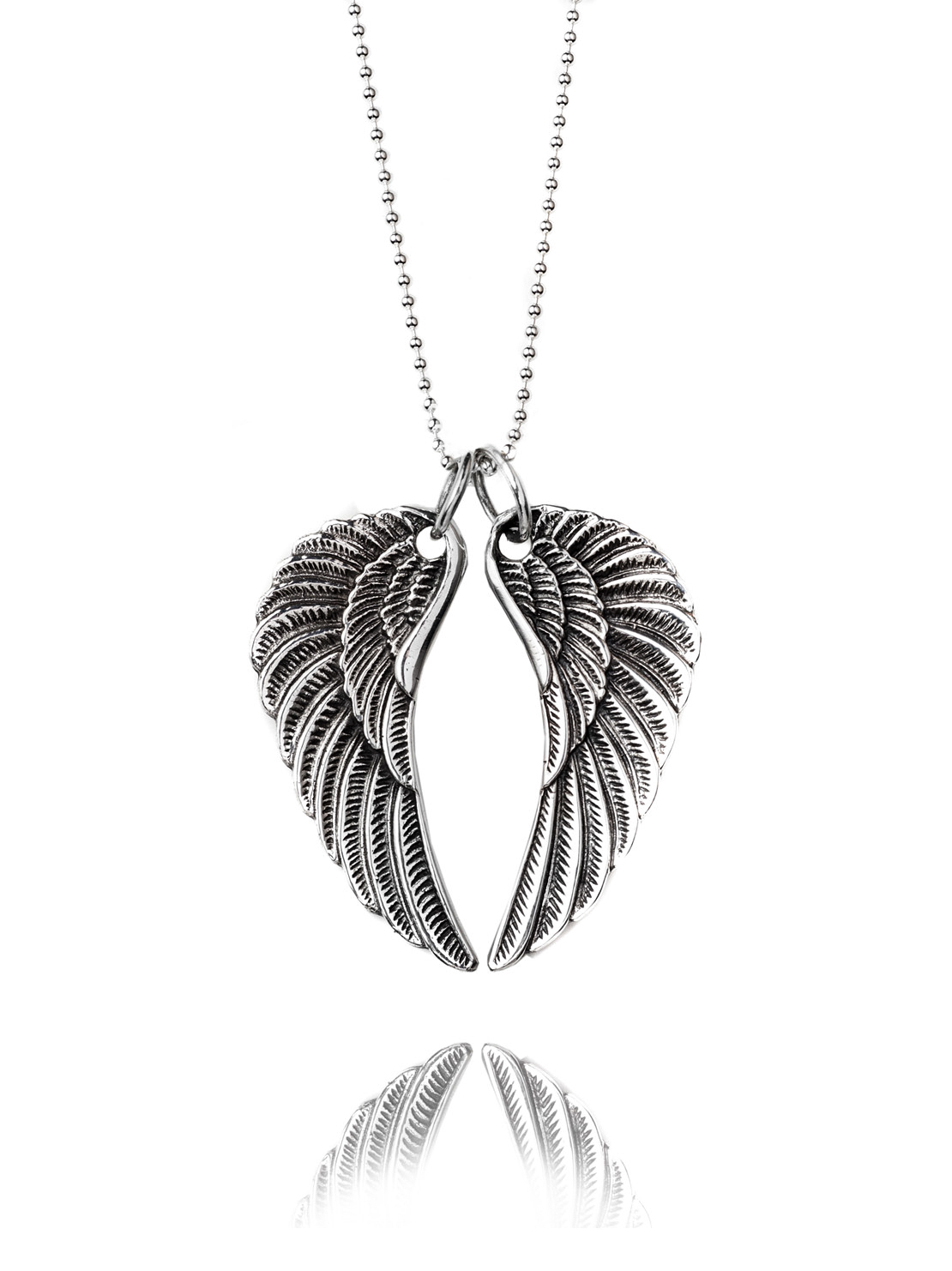 Large Silver Wing Necklace