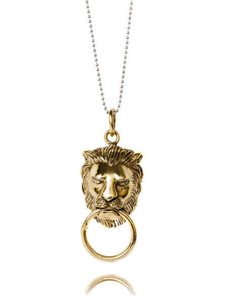 Lion Door Knocker Necklace In Brass