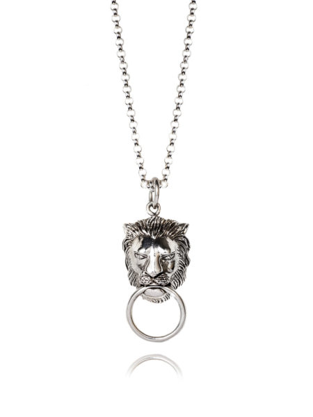 Lion Door Knocker Necklace In White Bronze