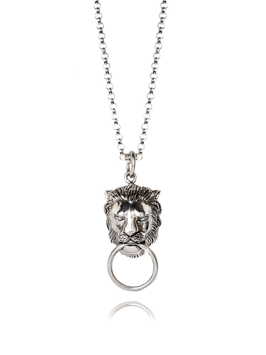 Silver Lion Door Knocker Necklace On Belcher Chain