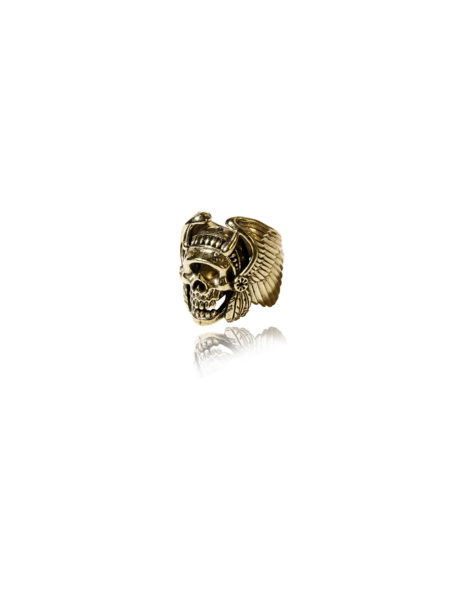 Native American Skull Ring - Brass