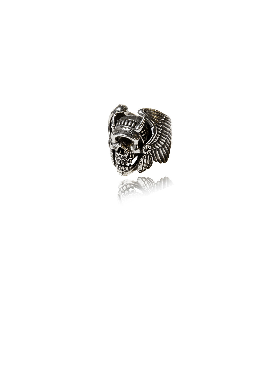 White Bronze Native American Skull Ring