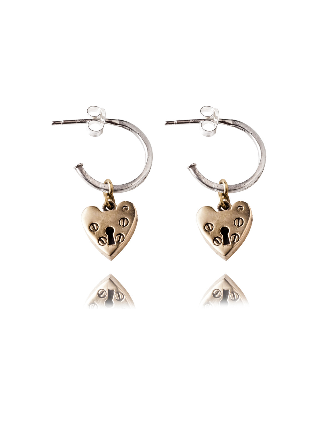 Silver And Brass Heart Earrings