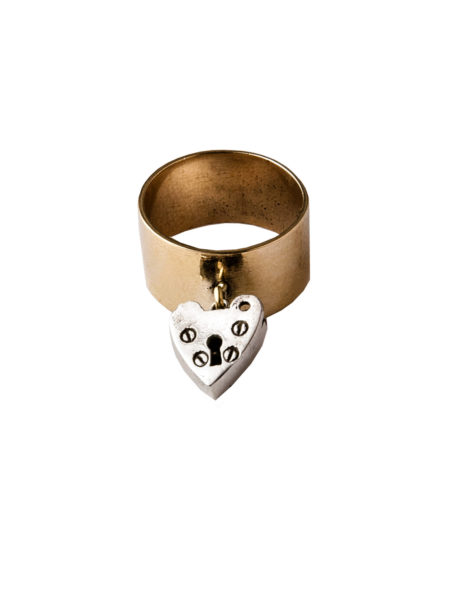 Silver And Brass Heart Ring