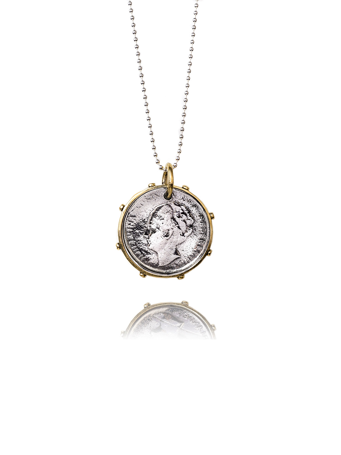 Silver And Gold Dutch Coin Necklace