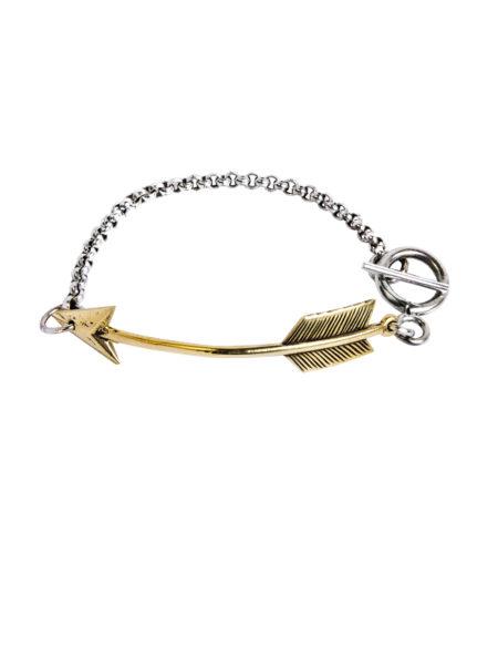 Silver Chain Bracelet - Brass Arrow