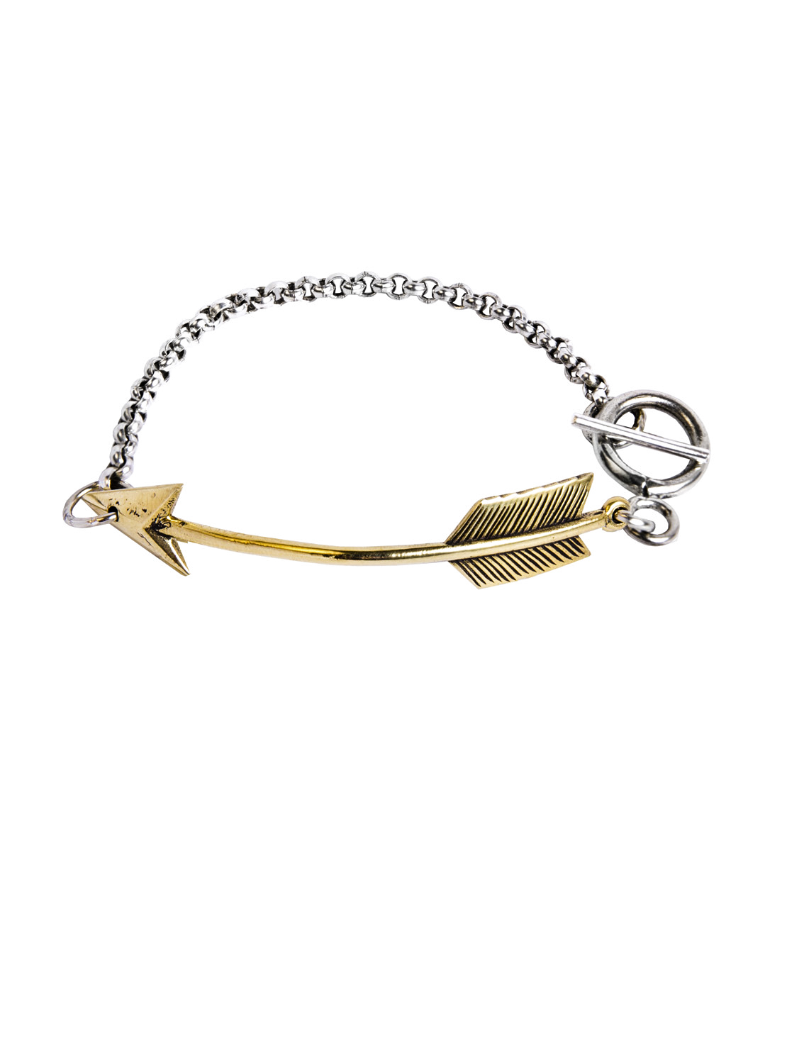 Silver Chain Bracelet With Brass Arrow