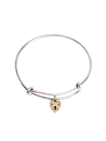 Silver Charm Bangle - Brass Heart