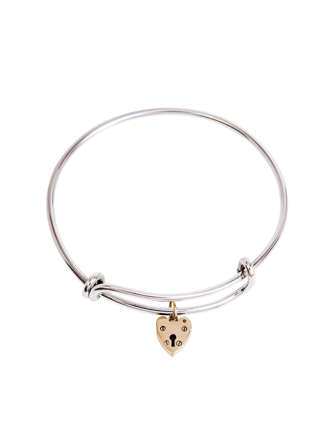 Silver Charm Bangle With Brass Heart