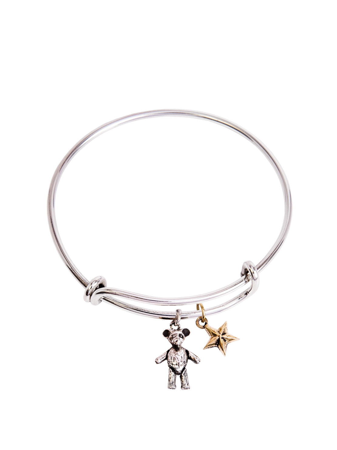 Silver Charm Bangle With Teddy And Star