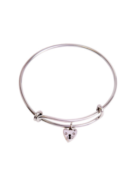 Silver Charm Bangle Silver Heart