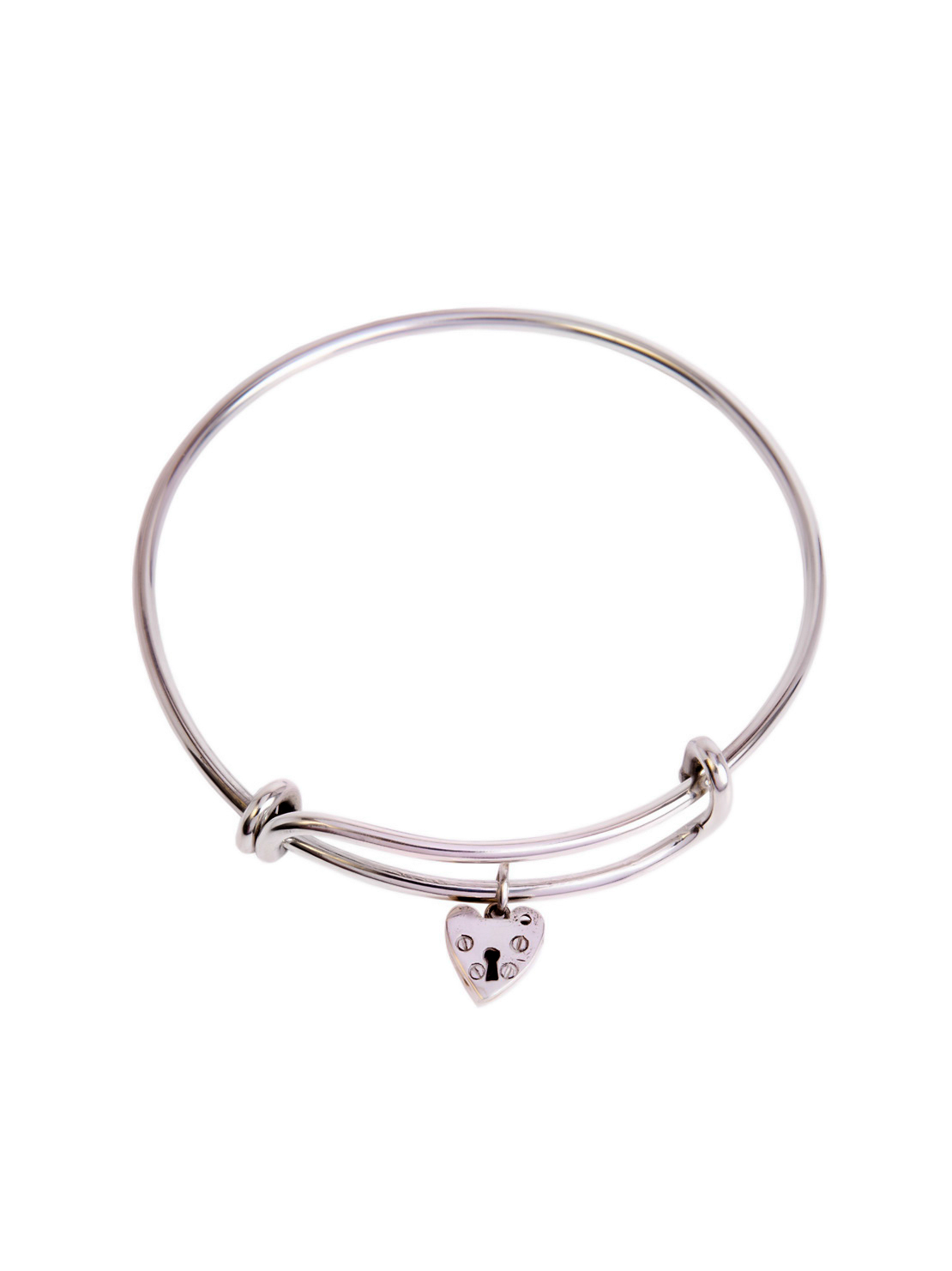 Silver Charm Bangle With Silver Heart