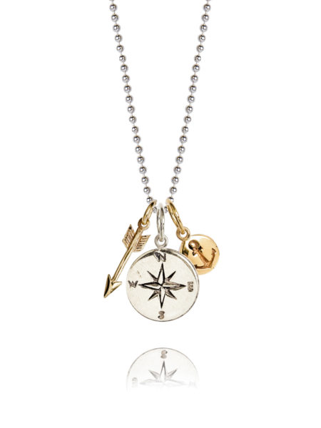 Silver Compass Cluster Necklace