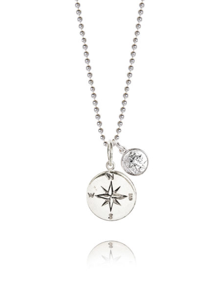 Silver Compass With Silver St Christopher Necklace