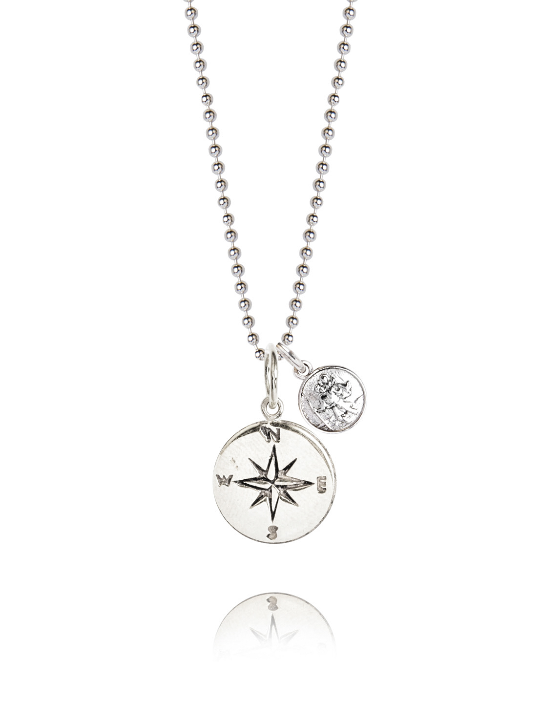 Silver Compass And Silver St Christopher Necklace