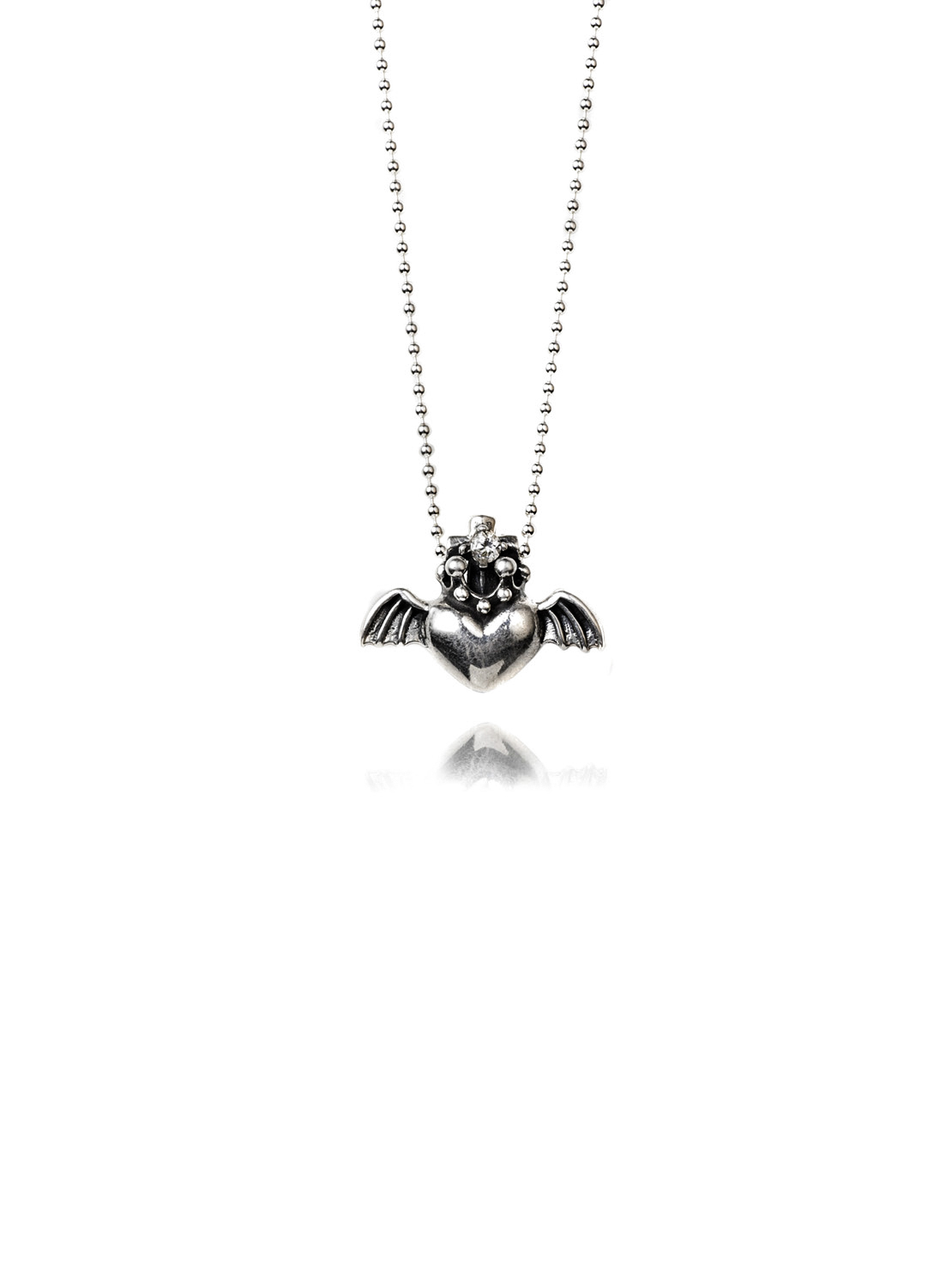 Silver Flying Heart Necklace