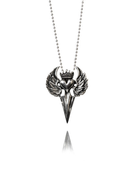 Silver Flying Heart With Dagger Necklace