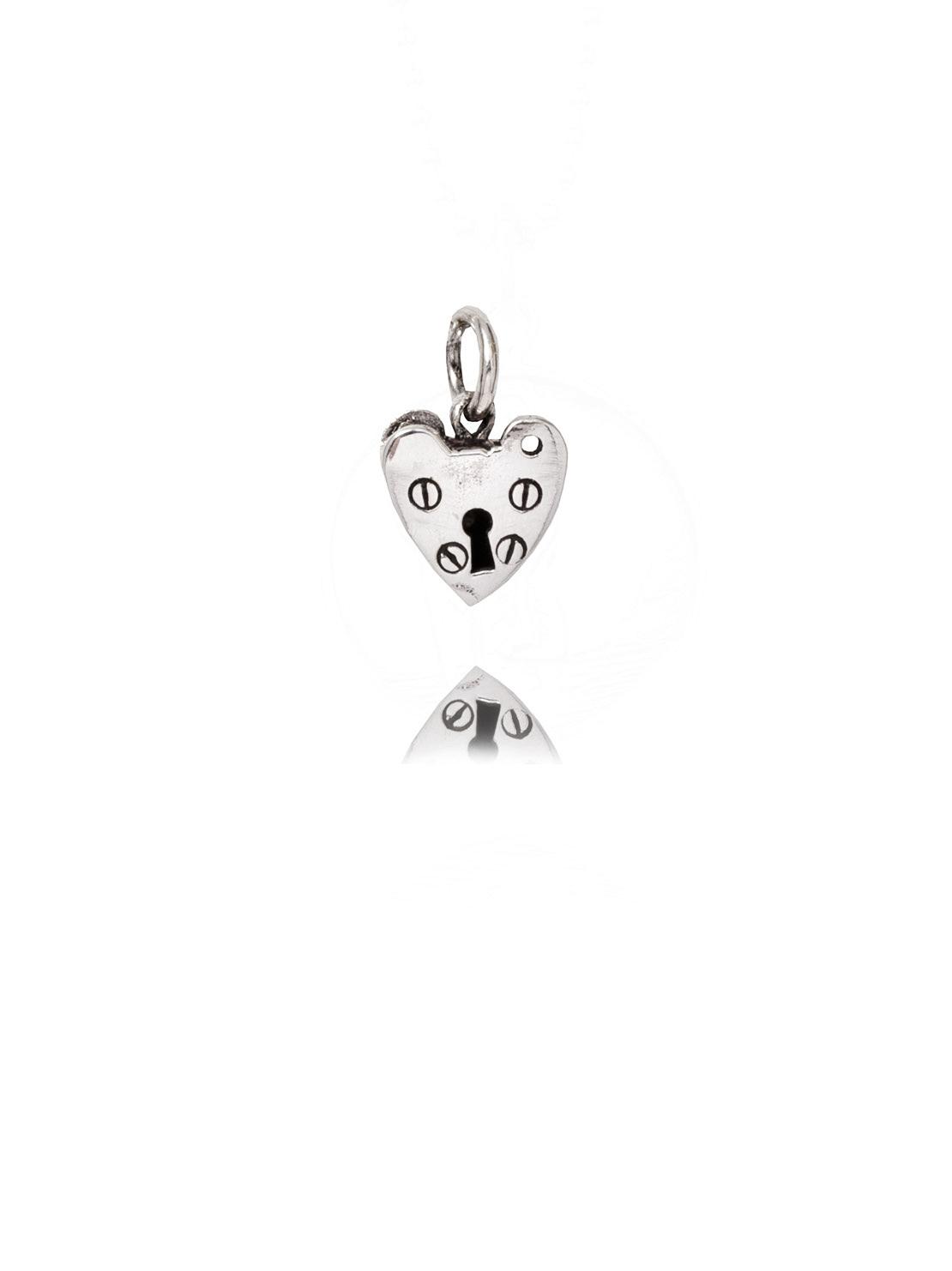 Silver Heart Padlock Charm