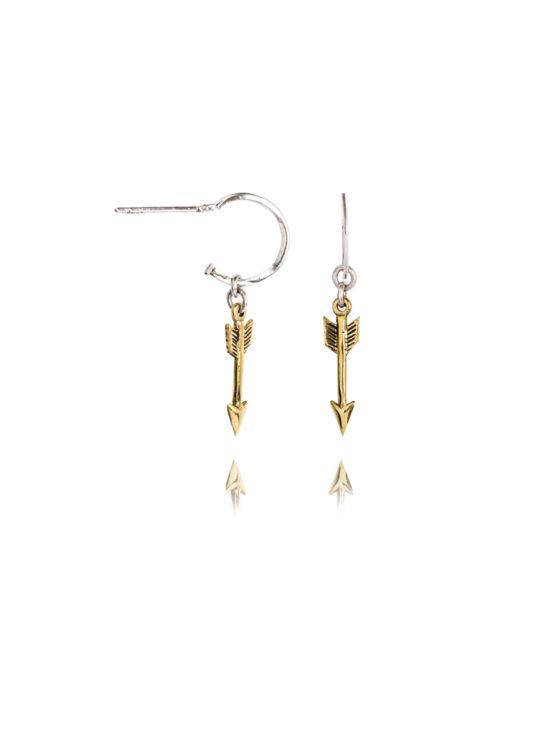 Silver Hoop Earrings With Brass Arrows