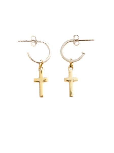 Silver Hoop Earrings With Brass Cross